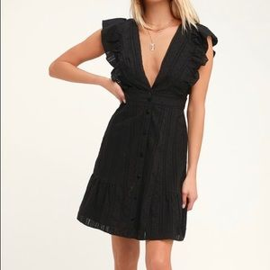Lulus small BLACK BUTTON-FRONT MINI DRESS NWT